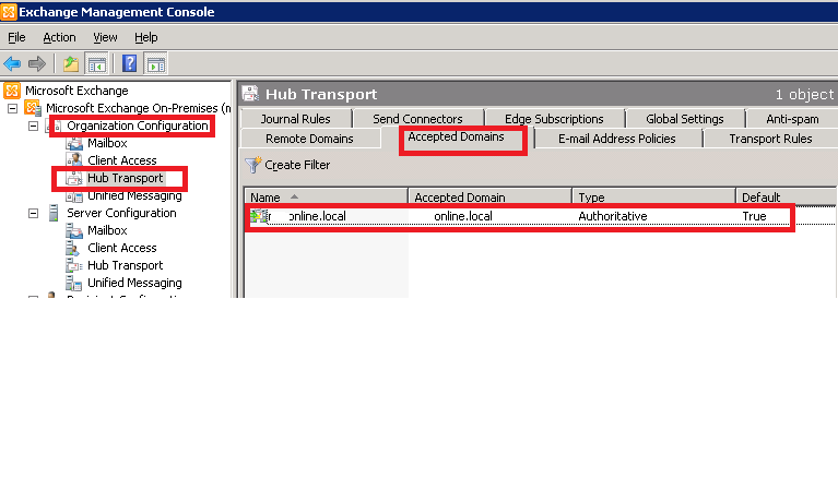 Hub Transport - Accepted Domains on My SBS2011