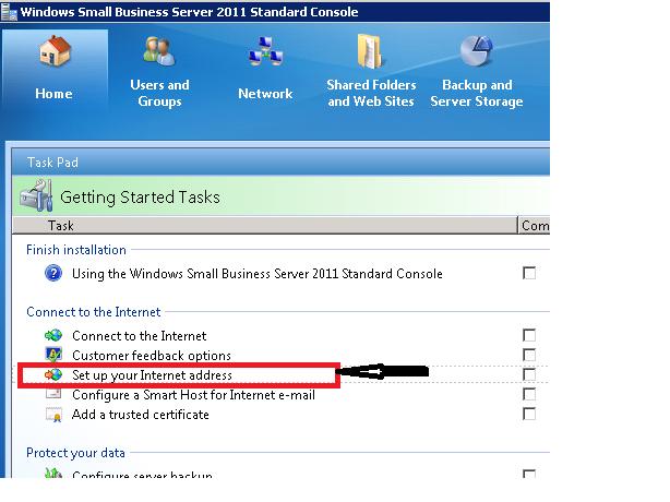 SBS Console - Setup up your Internet address