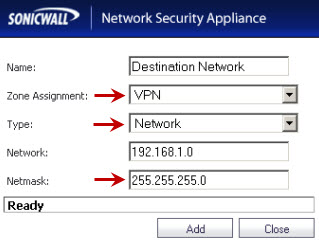 Destination Network mismatch