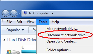 Tools - Disconnect network drive