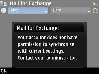 Nokia E72 - Mail for Exchange error