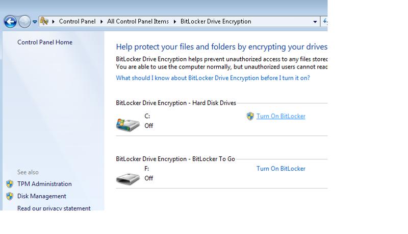 BitLocker Status in Control Panel