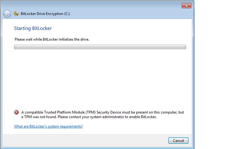 BitLocker Progress Screen