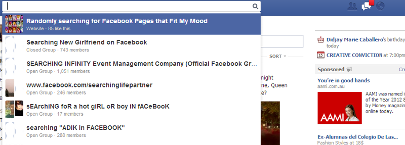Facebook does not diplay text in search dialog