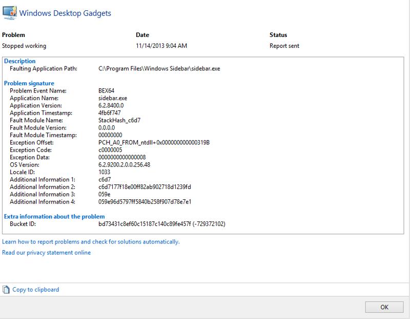 Reliability Monitor error screen