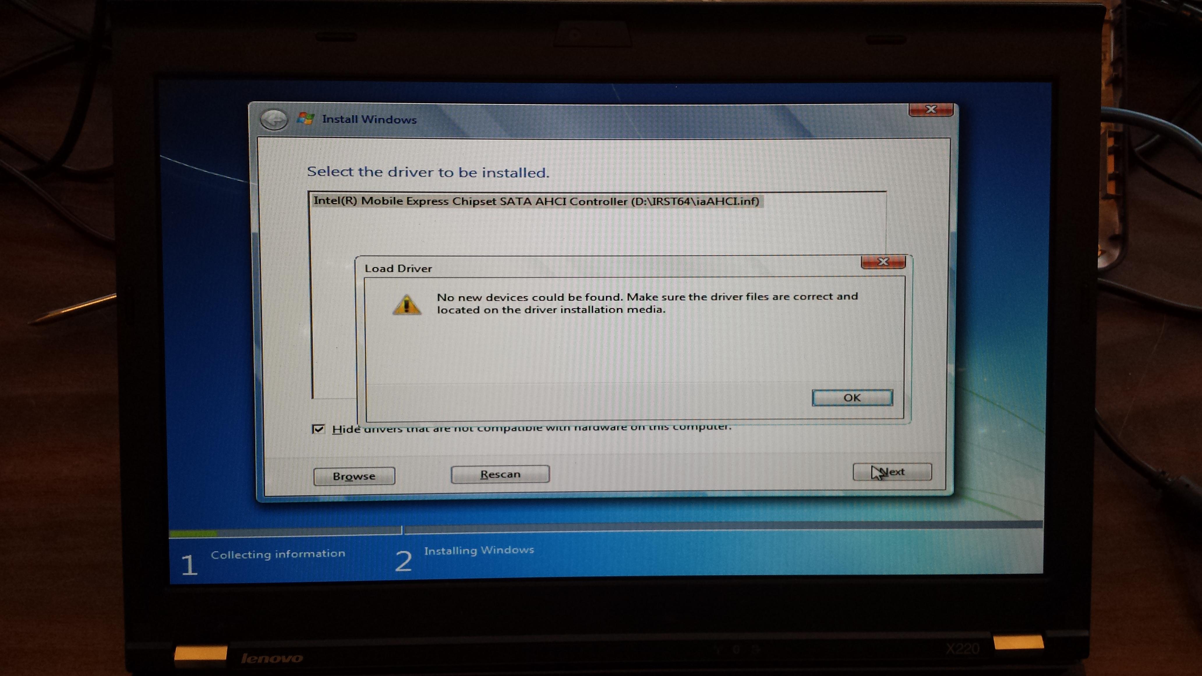 Installing Windows 7 on Lenovo X220 Laptop