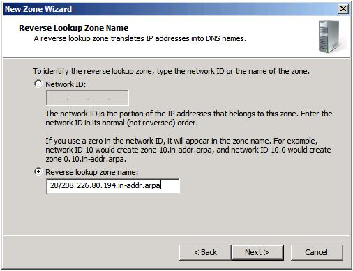 Adding Reverse Lookup Zone (IP Addresses are example)