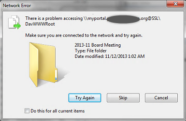 Screenshot of error received when attempting drag and drop with IE or drag and drop with Windows Explorer.