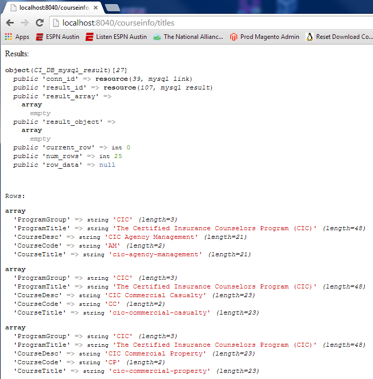 var_dump() screenshot