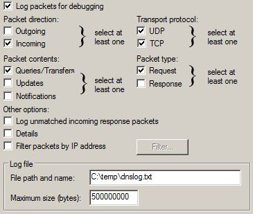 DNS debug log settings - 2008 R2