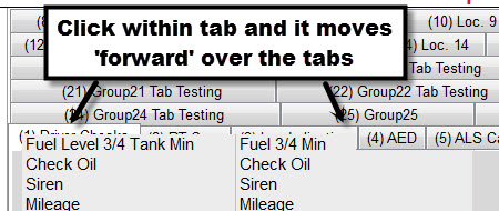 Contents of tab moved 'foward' of tab