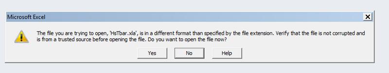 Excel HsTbar error