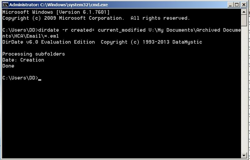 DirDate command window