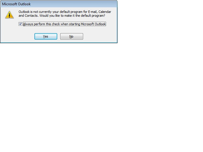 Default message for Outlook 2010
