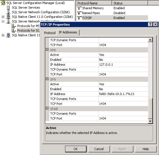 SQL Service TCP Settings