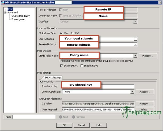 IPsec setup menu