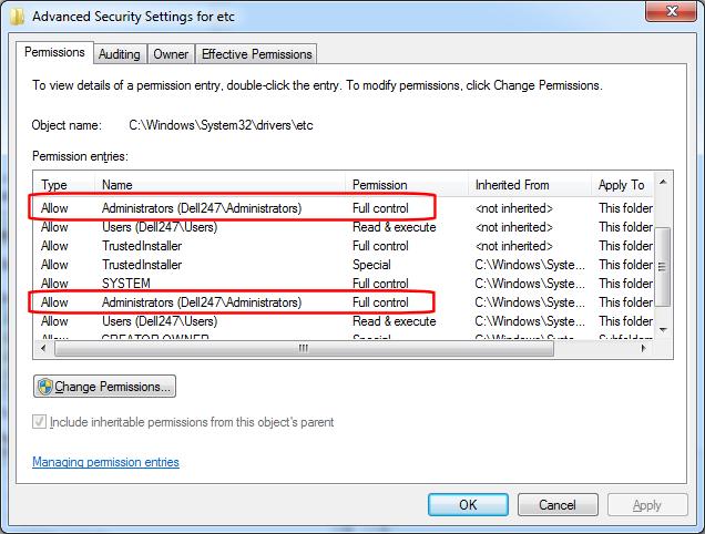 Permissions - Administrators - Full Control (click for larger)