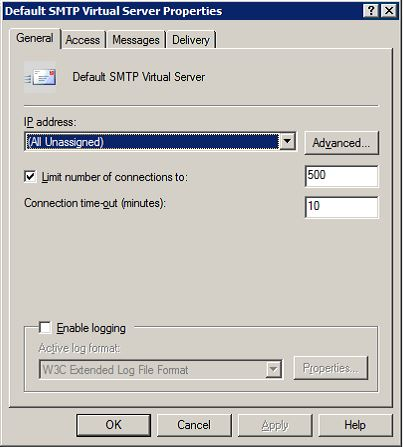 SMTP Virtual Server Settings