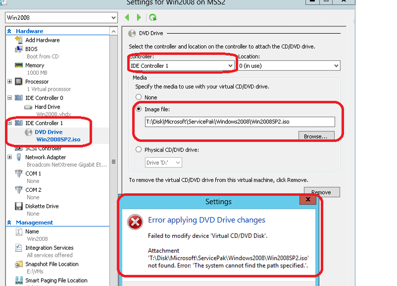 Error in changing ISO file