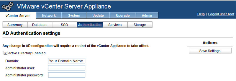 vCenter AD Authentication Screen