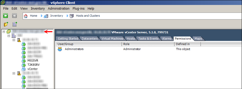 Permissions tab at vcenter level