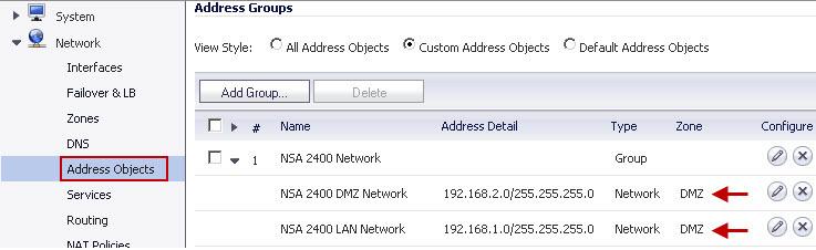 Address Group on NSA 220