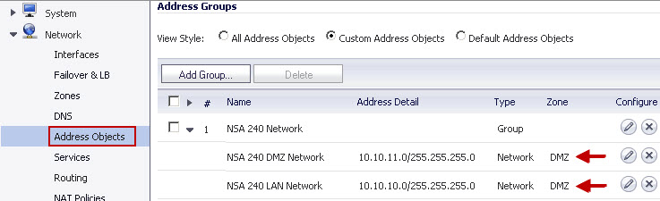Address Group on NSA 2400