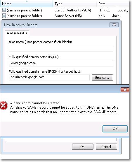 Error adding CNAME