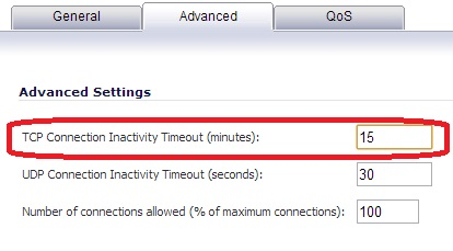 TCP Connection Inactivity Timeout
