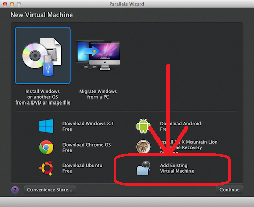 Add Existing Virtual Machine