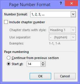 Change page number