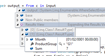 How to group by and sum in linq