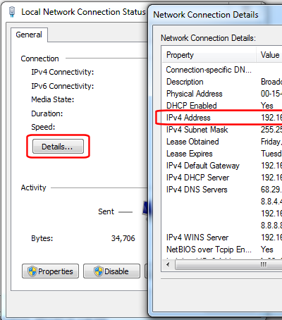 Local Network Connection Status - Network Connection Details - IPv4 Address
