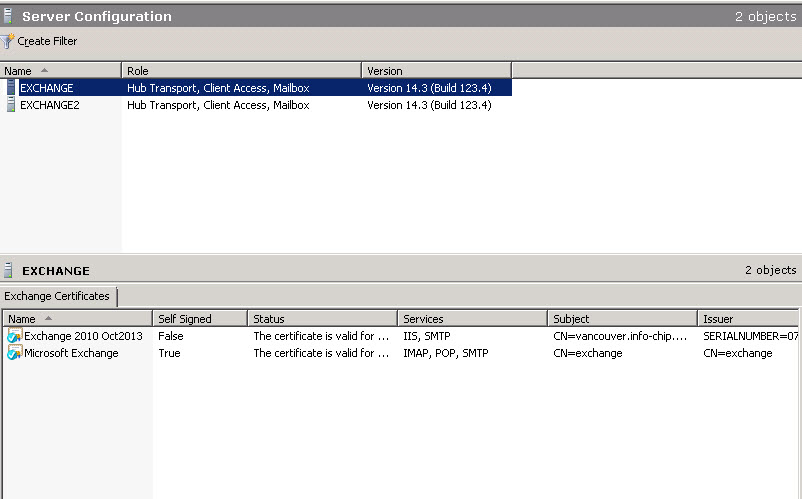 Exchange 2010 IMAP SSL Certificate Error in a DAG