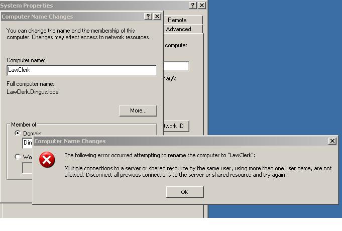 Change Computer Name Error