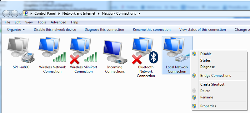 Network Connections - Local Network Connection - Context Menu (click for larger)