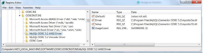 ODBC Reginfo For MySql