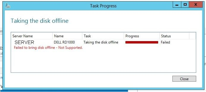 Setting Removable Hard Drive to Offline Status Fails