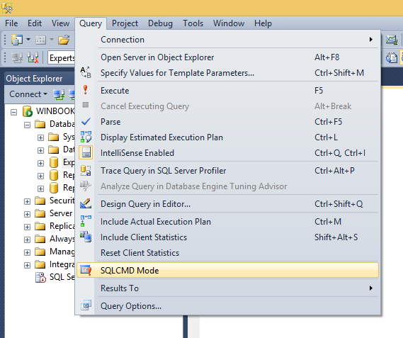 Enabling SQL CMD mode under the Query menu