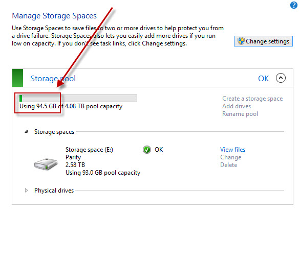 Storage space consumption
