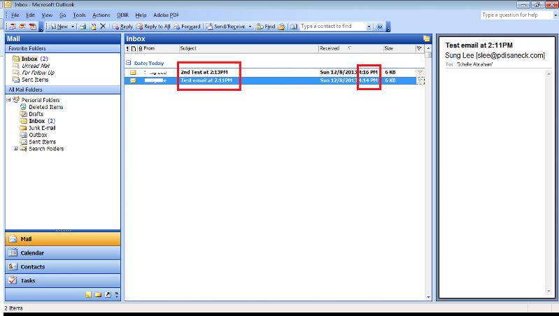 Outlook shows the same time as Webmail System time