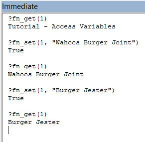 Immediate Window demo of how to call in VBA code