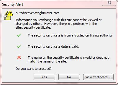 Screenshot of the pop-up error.