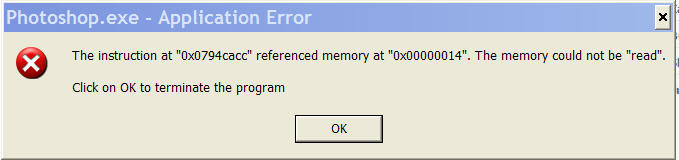 This is the error received when opening the Photoshop CS3 application alone.