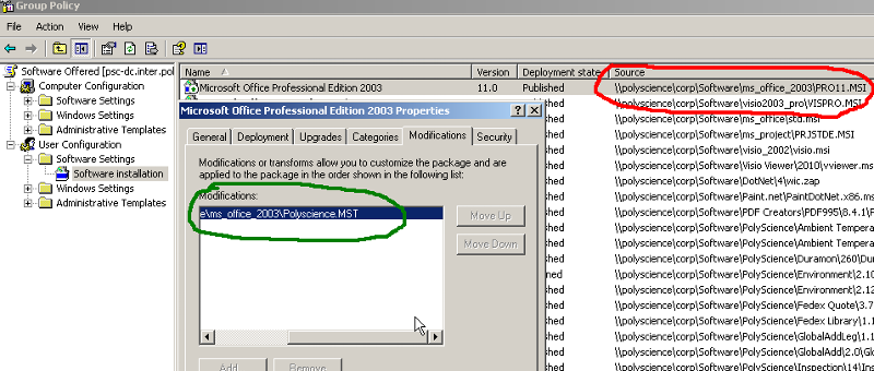 Deployment of Office 2003 with transform