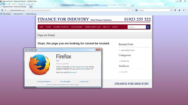 Firefox screenshot with 404 error