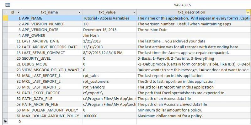 VARIABLES table in datasheet view