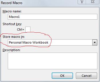 Store macro in Personal macro workbook