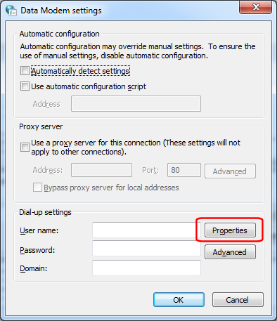 Connections - Settings - Properties