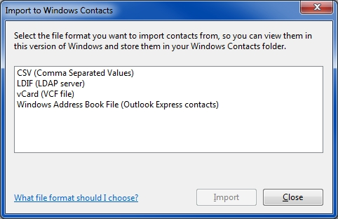 Import To Windows Contacts